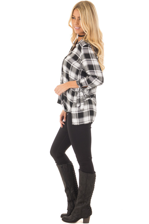 Black and White Plaid Hi Low Top with Sleeve Tie Details side full body