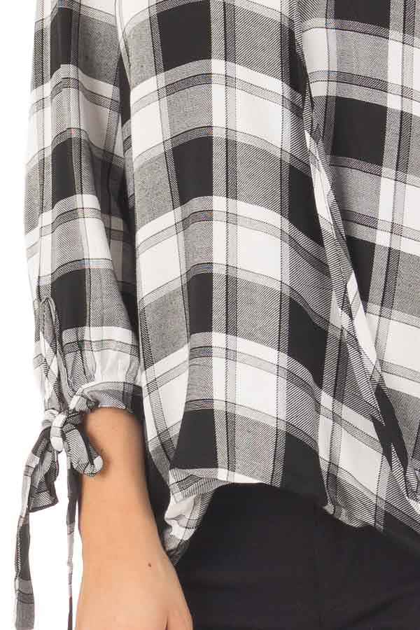 Black and White Plaid Hi Low Top with Sleeve Tie Details front detail