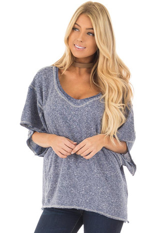 Navy Two Tone Short Sleeve Oversized Top front closeup