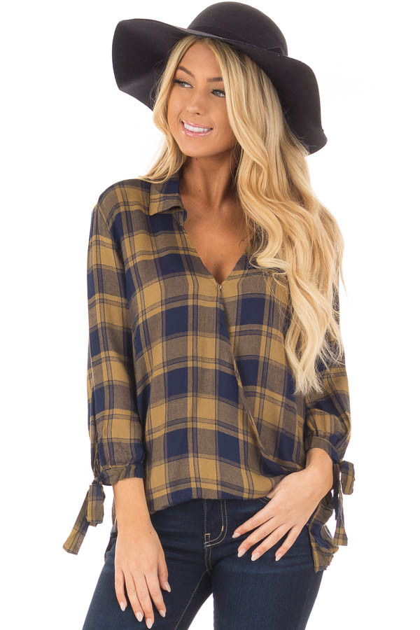 Mustard and Navy Plaid Hi Low Top with Sleeve Tie Details front closeup