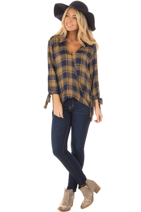 Mustard and Navy Plaid Hi Low Top with Sleeve Tie Details front full body