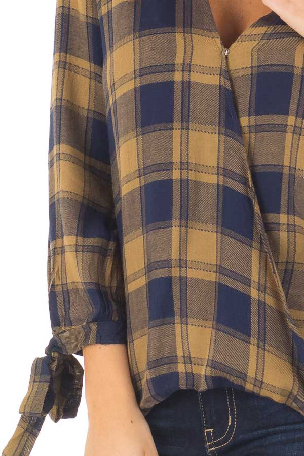 Mustard and Navy Plaid Hi Low Top with Sleeve Tie Details front detail