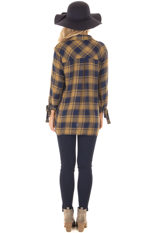 Mustard and Navy Plaid Hi Low Top with Sleeve Tie Details back full body