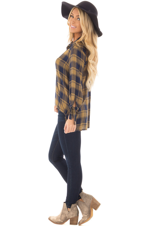 Mustard and Navy Plaid Hi Low Top with Sleeve Tie Details side full body