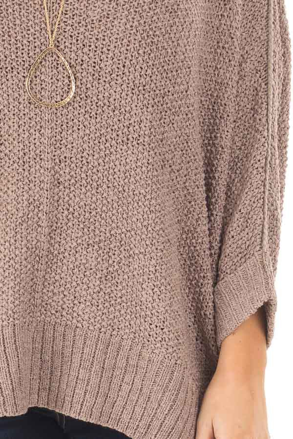 Mocha 3/4 Sleeve Oversized Sweater with Folded Cuffs front detail
