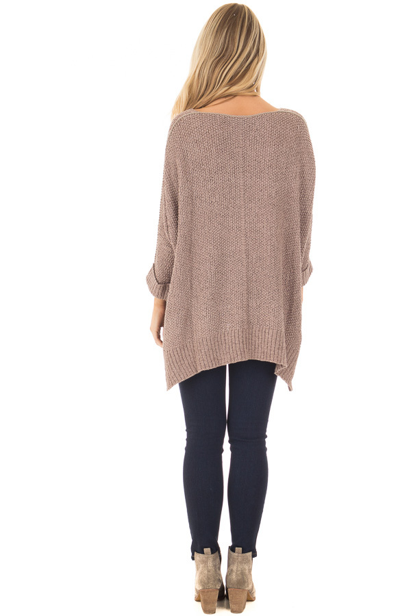 Mocha 3/4 Sleeve Oversized Sweater with Folded Cuffs back full body