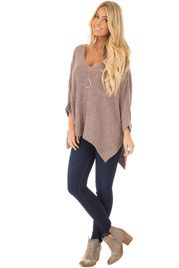 Mocha 3/4 Sleeve Oversized Sweater with Folded Cuffs front full body