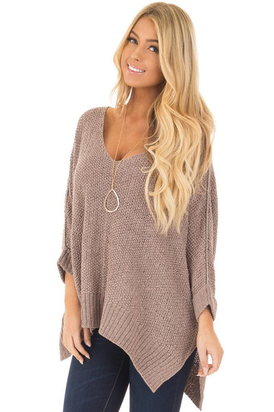 Mocha 3/4 Sleeve Oversized Sweater with Folded Cuffs front closeup