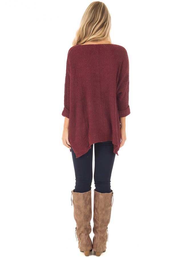 Burgundy 3/4 Sleeve Oversized Sweater with Folded Cuffs back full body