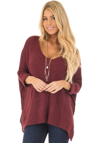 Burgundy 3/4 Sleeve Oversized Sweater with Folded Cuffs front closeup