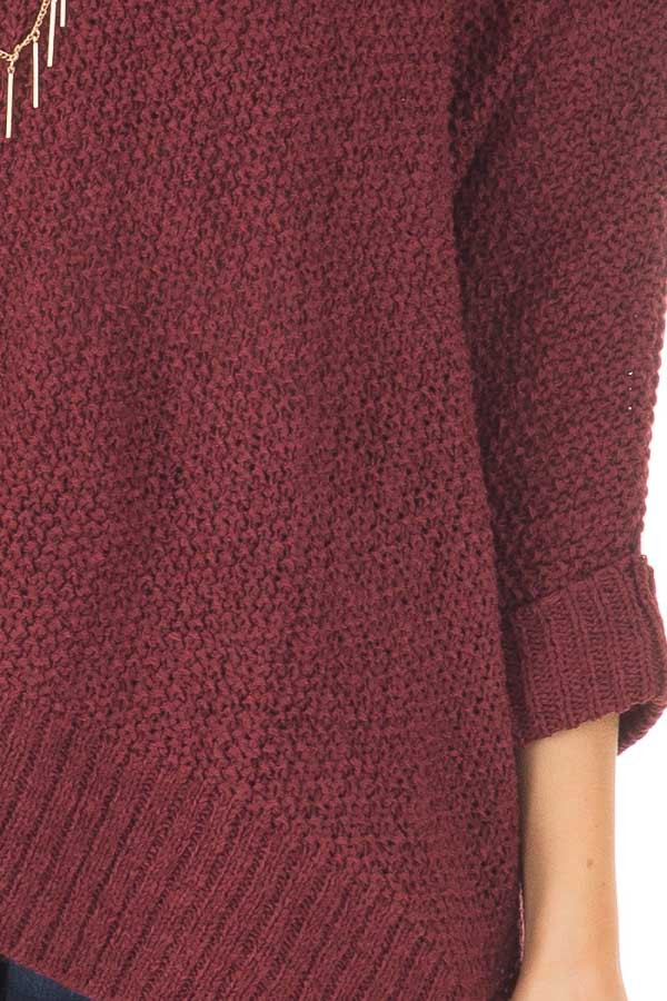 Burgundy 3/4 Sleeve Oversized Sweater with Folded Cuffs front detail