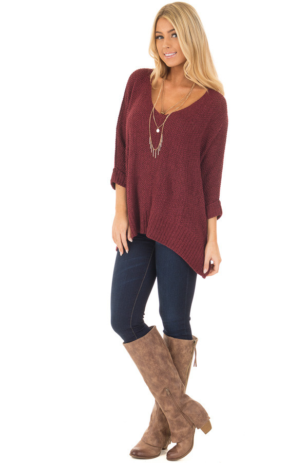Burgundy 3/4 Sleeve Oversized Sweater with Folded Cuffs front full body