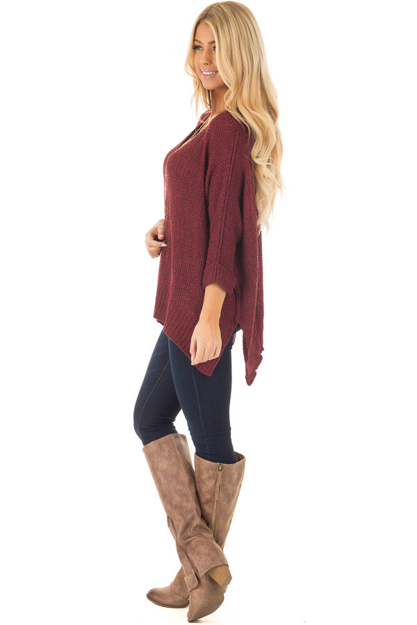 Burgundy 3/4 Sleeve Oversized Sweater with Folded Cuffs side full body