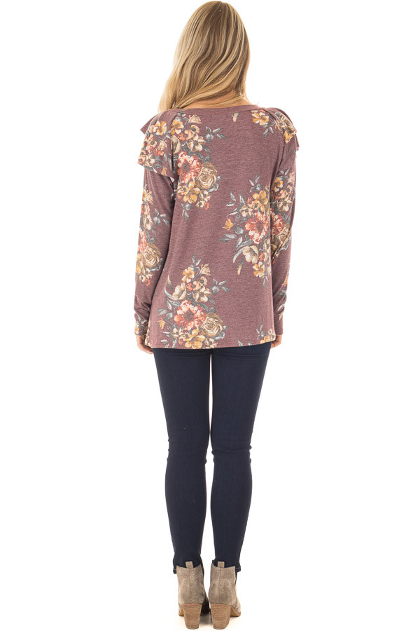 Burgundy Floral Print Long Sleeve Top with Ruffle Details back full body