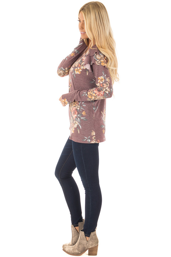 Burgundy Floral Print Long Sleeve Top with Ruffle Details side full body