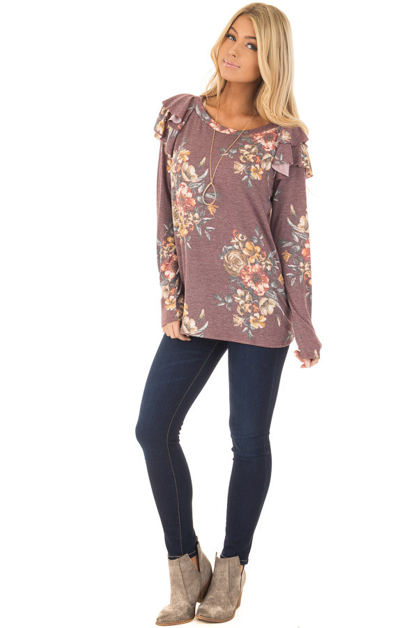 Burgundy Floral Print Long Sleeve Top with Ruffle Details front full body