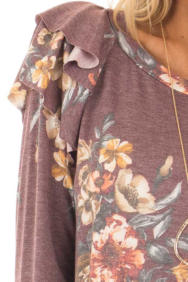 Burgundy Floral Print Long Sleeve Top with Ruffle Details front detail