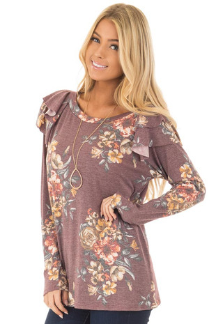 Burgundy Floral Print Long Sleeve Top with Ruffle Details front closeup