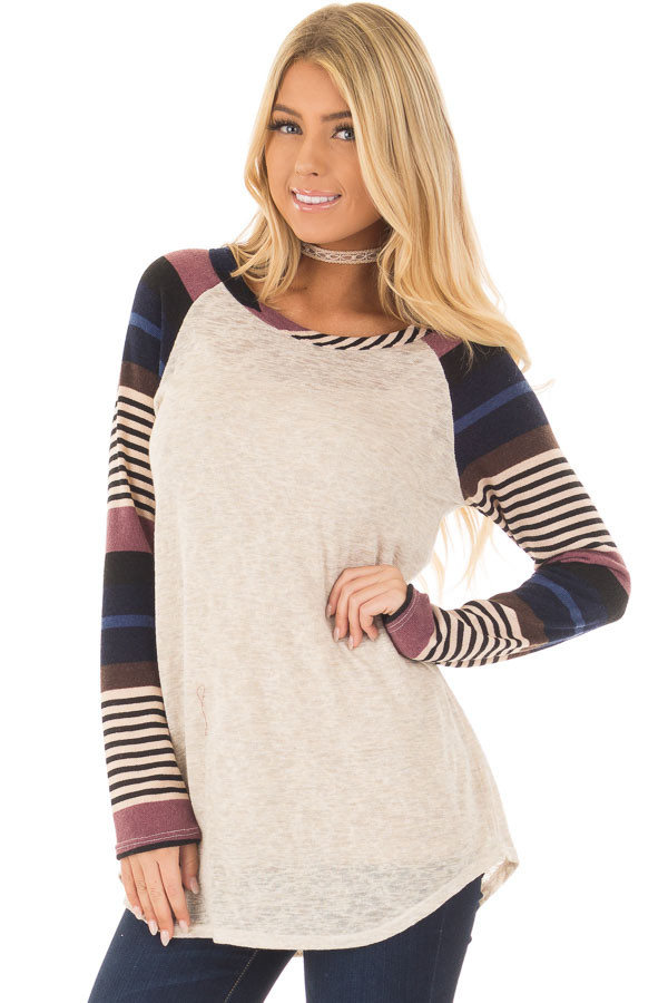 Oatmeal Top with Plum and Navy Raglan Sleeves front closeup
