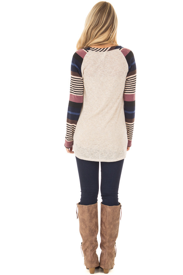 Oatmeal Top with Plum and Navy Raglan Sleeves back full body