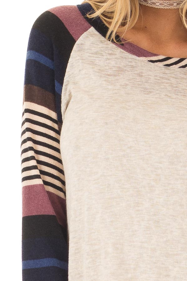 Oatmeal Top with Plum and Navy Raglan Sleeves front detail