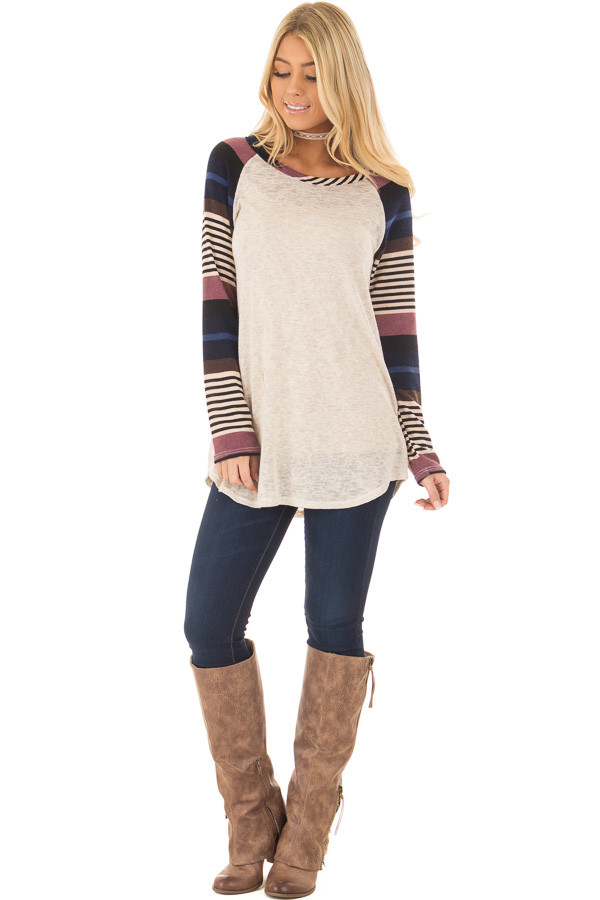 Oatmeal Top with Plum and Navy Raglan Sleeves front full body