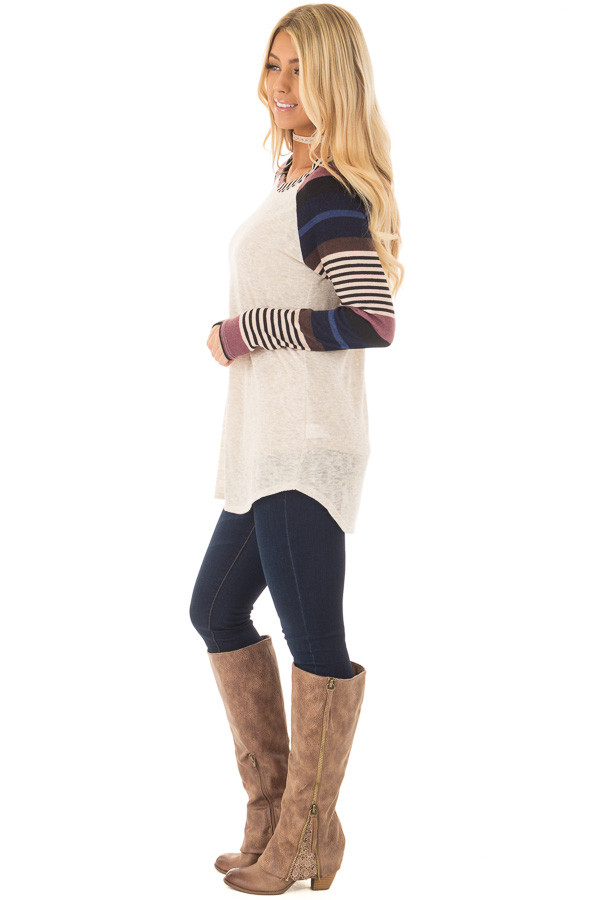 Oatmeal Top with Plum and Navy Raglan Sleeves side full body