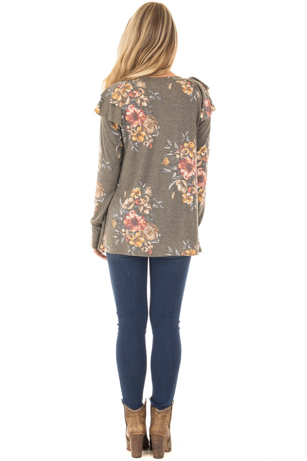 Olive Floral Print Long Sleeve Top with Ruffle Details back full body