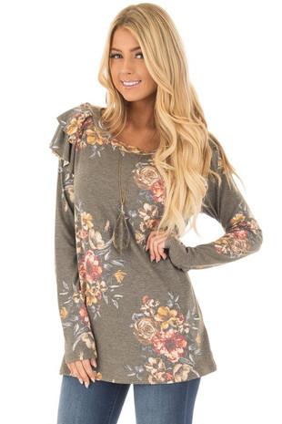 Olive Floral Print Long Sleeve Top with Ruffle Details front closeup