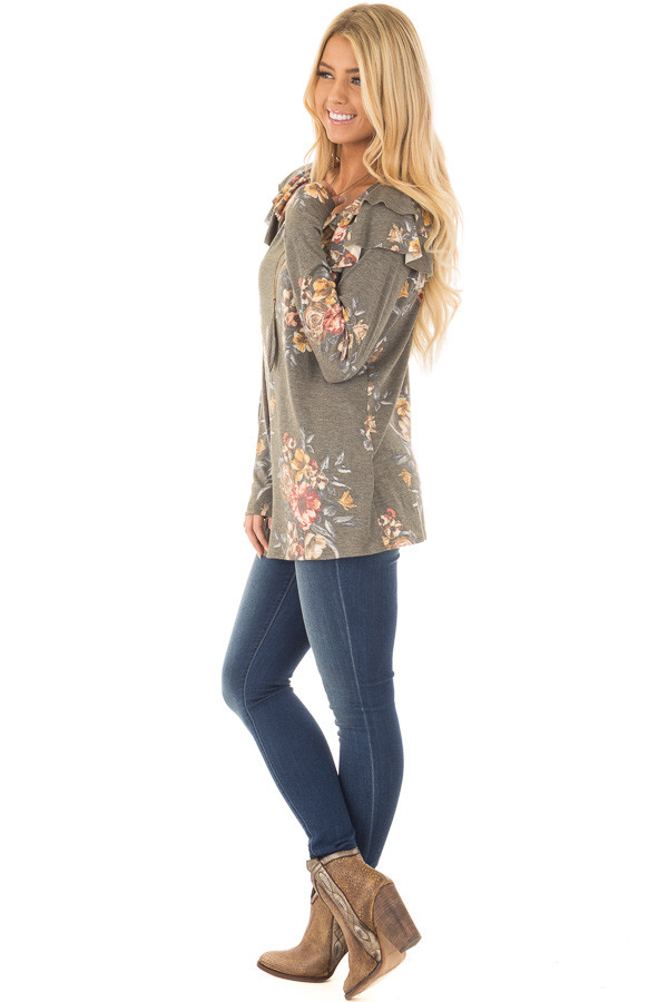Olive Floral Print Long Sleeve Top with Ruffle Details side full body