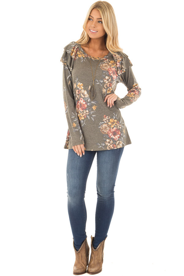 Olive Floral Print Long Sleeve Top with Ruffle Details front full body