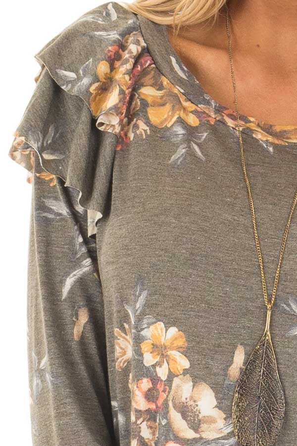 Olive Floral Print Long Sleeve Top with Ruffle Details front detail