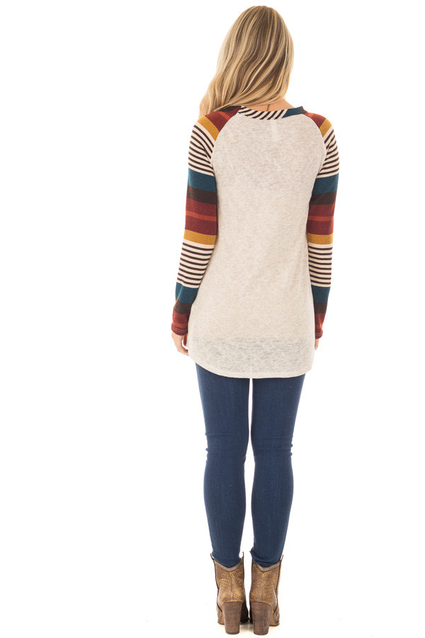 Oatmeal Top with Burgundy and Mustard Raglan Sleeves back full body