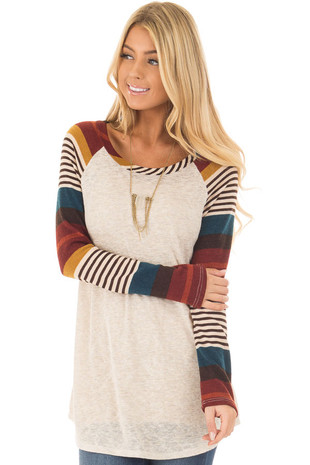 Oatmeal Top with Burgundy and Mustard Raglan Sleeves front closeup
