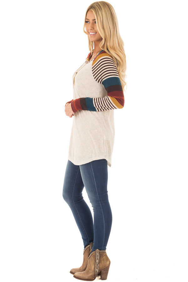 Oatmeal Top with Burgundy and Mustard Raglan Sleeves side full body
