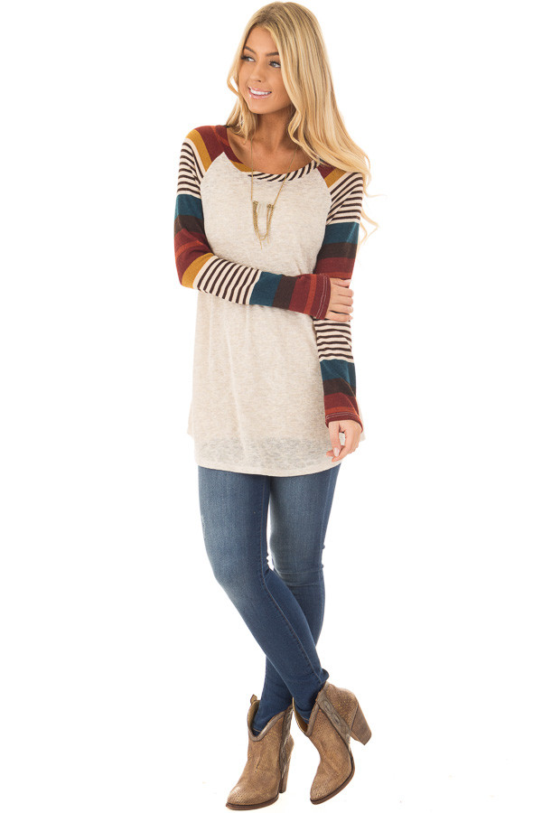 Oatmeal Top with Burgundy and Mustard Raglan Sleeves front full body