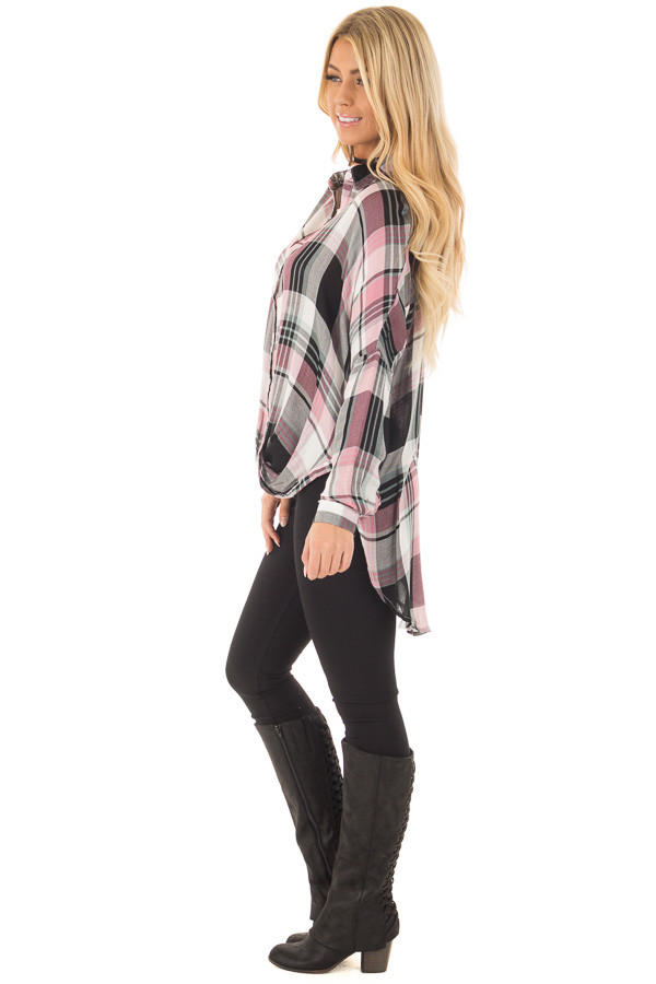 Blush and Mint Plaid Hi Low Button Up Blouse side full body
