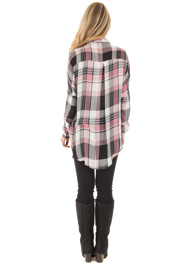 Blush and Mint Plaid Hi Low Button Up Blouse back full body