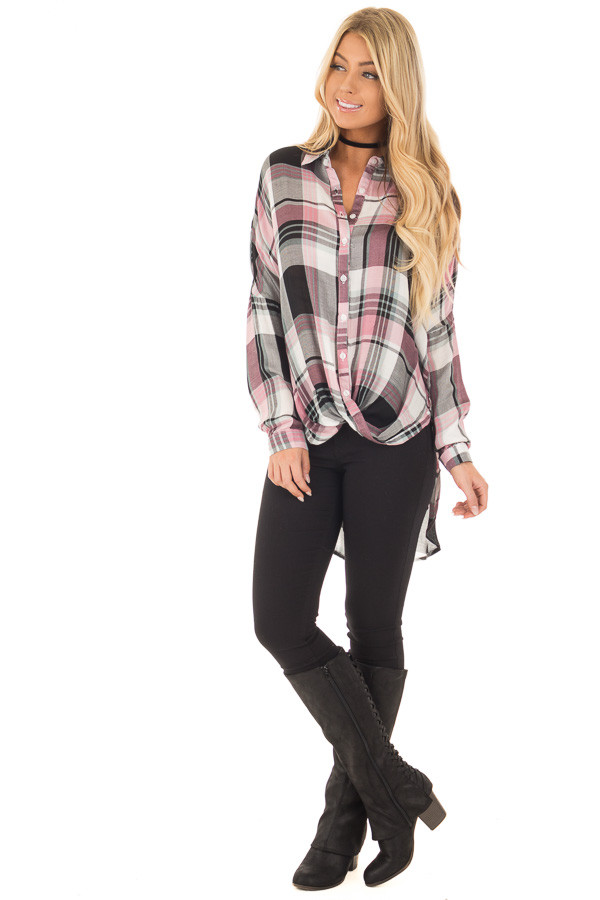 Blush and Mint Plaid Hi Low Button Up Blouse front full body