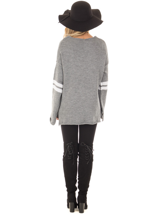 Cloud Grey Long Sleeve Varsity Stripe Sweater back full body