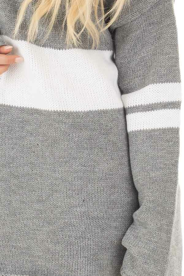 Cloud Grey Long Sleeve Varsity Stripe Sweater front detail