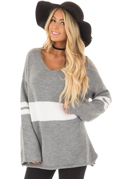 Cloud Grey Long Sleeve Varsity Stripe Sweater front closeup