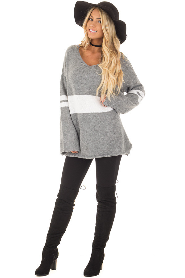 Cloud Grey Long Sleeve Varsity Stripe Sweater front full body