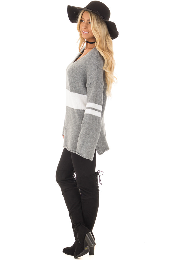 Cloud Grey Long Sleeve Varsity Stripe Sweater side full body