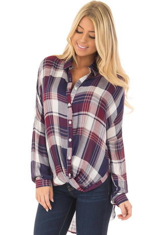 Navy and Wine Plaid Hi Low Button Up Blouse front closeup