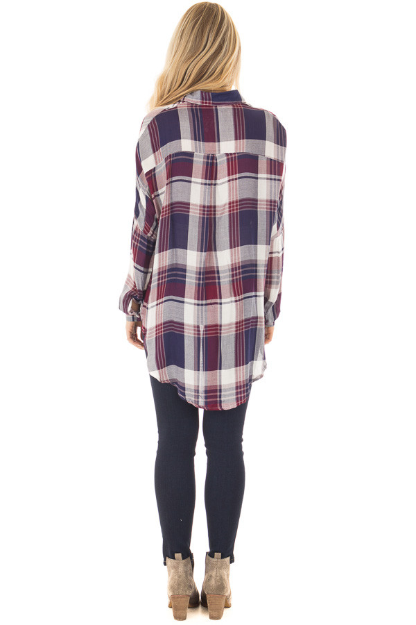 Navy and Wine Plaid Hi Low Button Up Blouse back full body