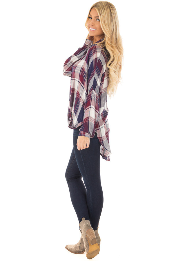 Navy and Wine Plaid Hi Low Button Up Blouse side full body