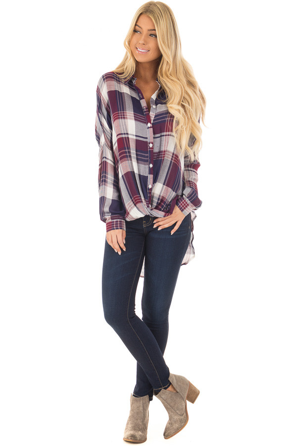 Navy and Wine Plaid Hi Low Button Up Blouse front full body