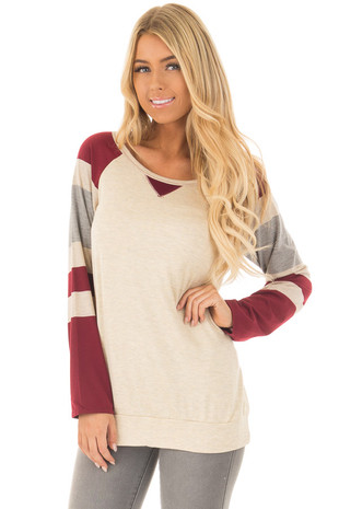 Oatmeal Raglan Top with Burgundy Striped Sleeves front closeup