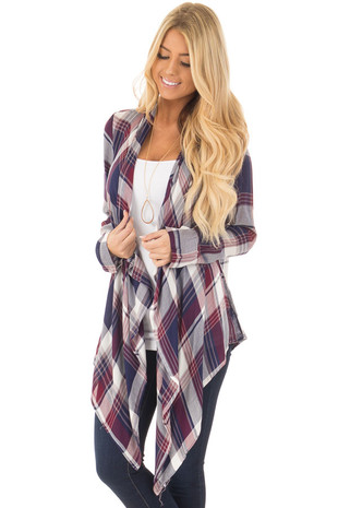 Navy and Wine Plaid Open Drape Lightweight Cardigan front close up